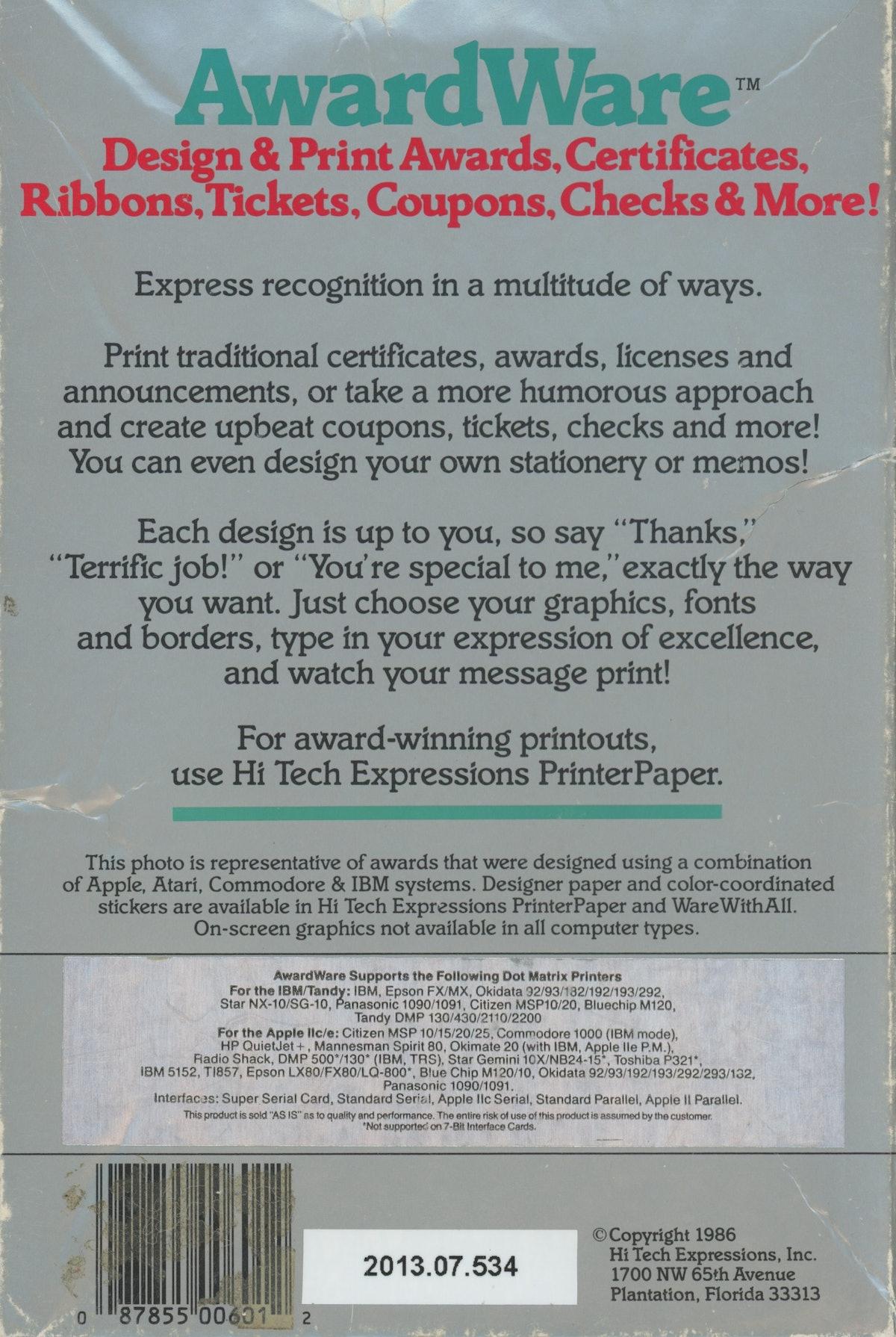 AwardWare: Design & Print Awards, Certificates, Ribbons, TIckets, Coupons, Checks & More!