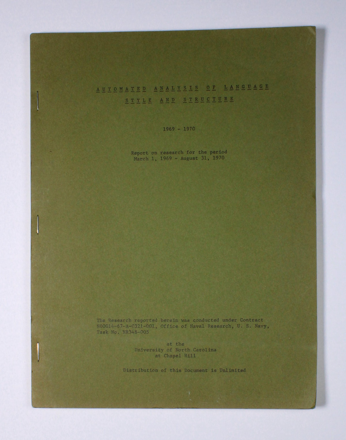 Automated Analysis of Language Style and Structure: 1969-1970