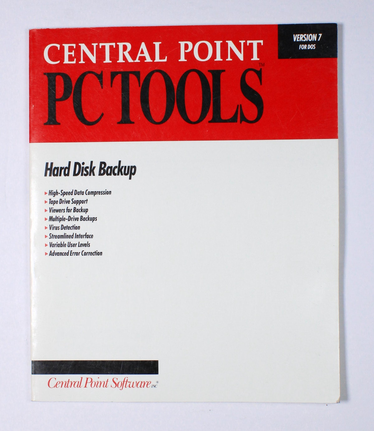 Central Point PC Tools: Hard Disk Backup
