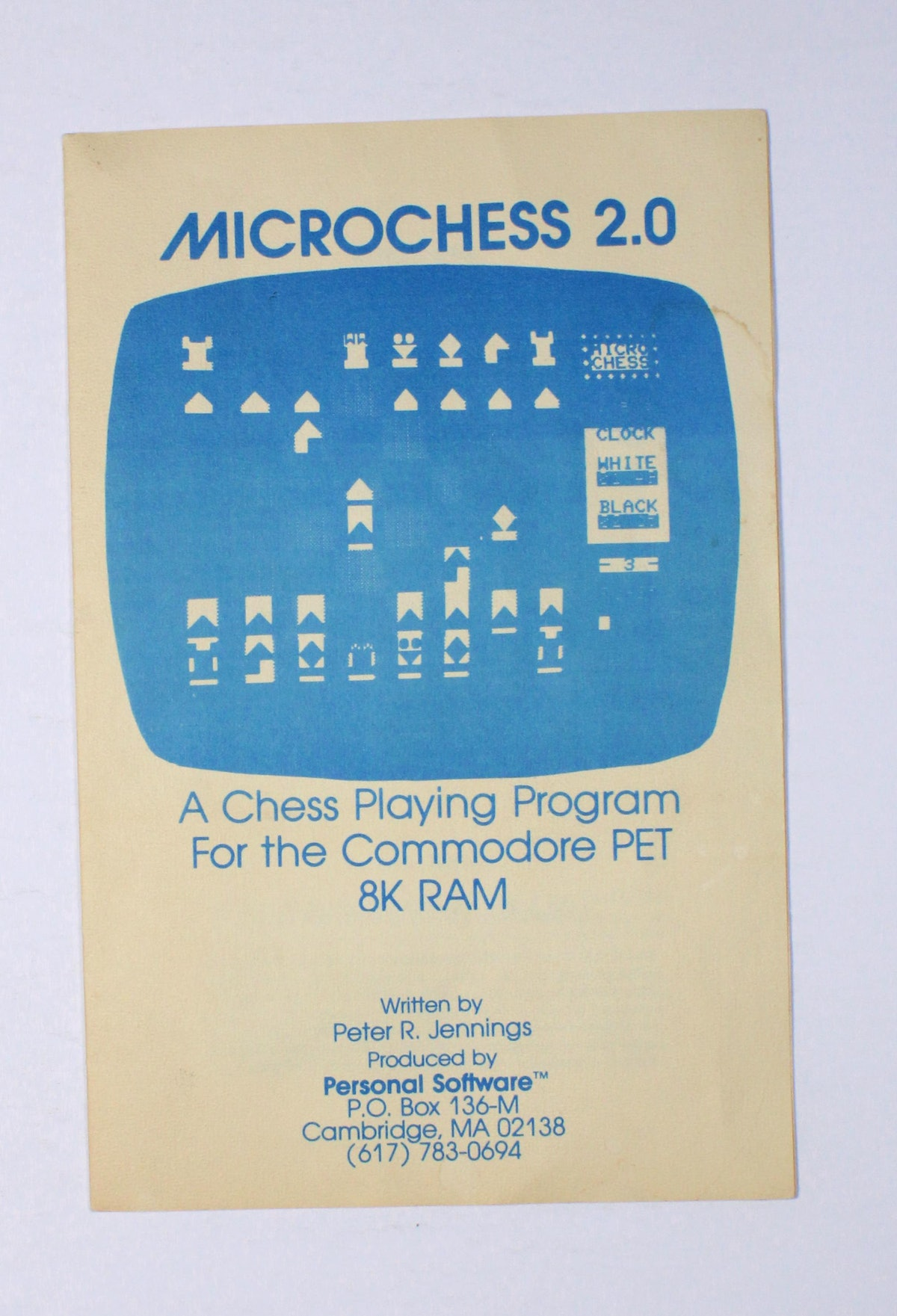 Microchess 2.0: A chess playing program for the Commodore PET 8K RAM