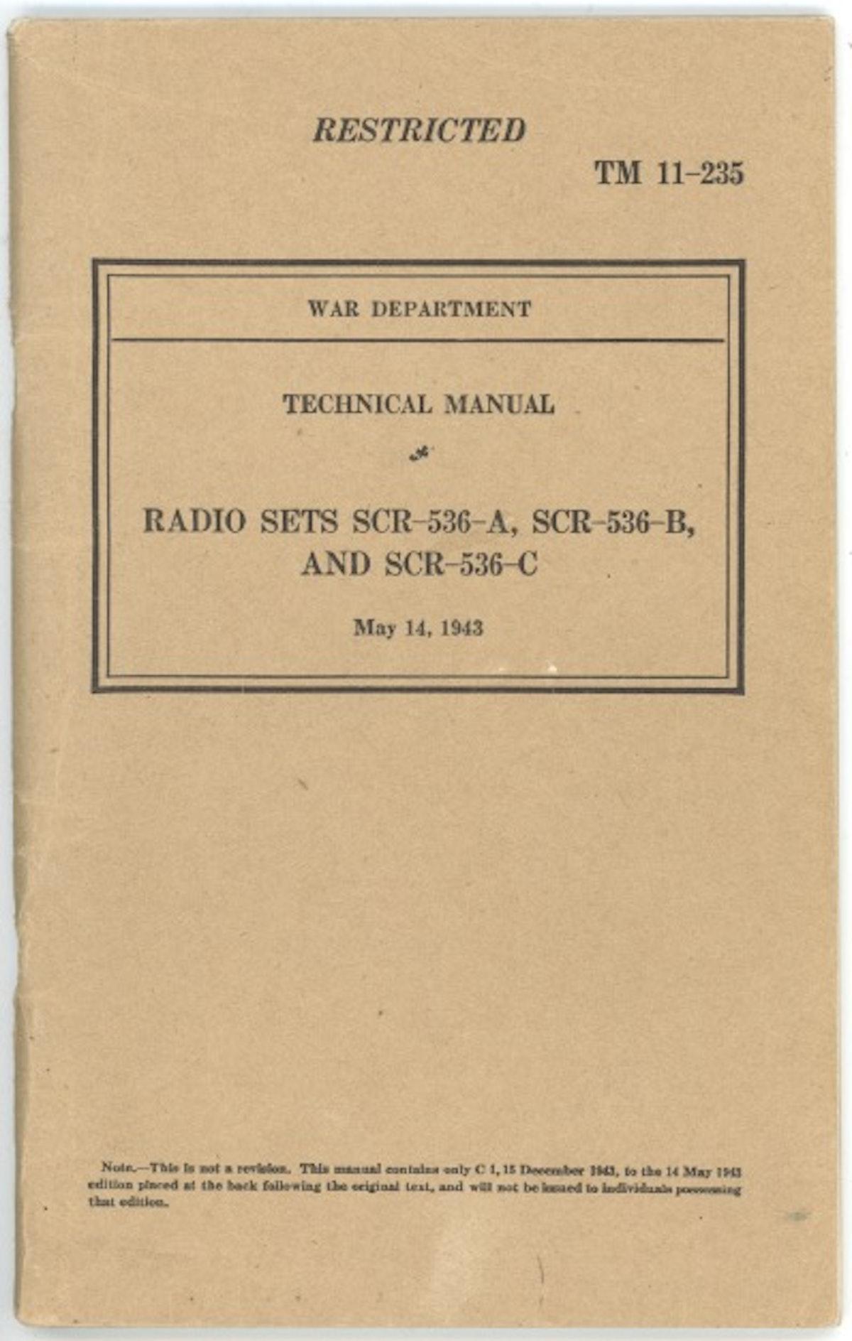 Technical Manual: Radio Sets SCR-536 A, SCR-536-B, And SCR-536-C