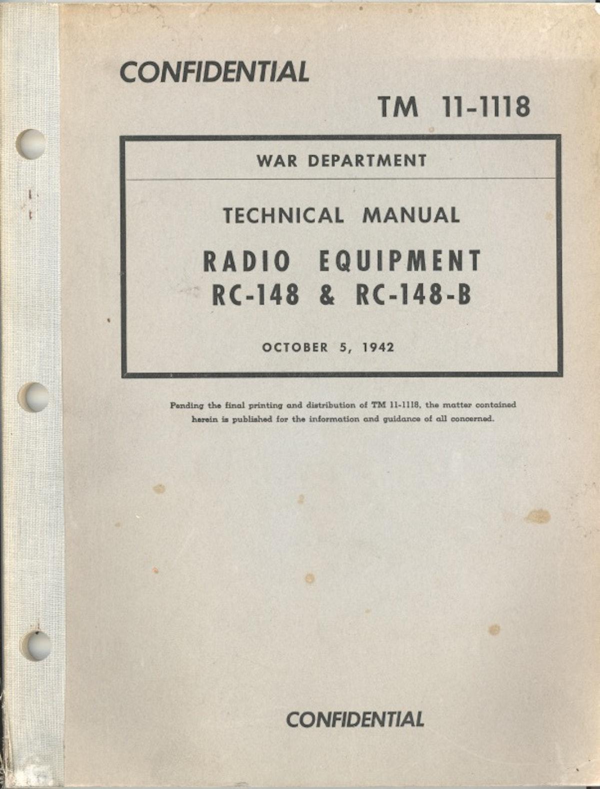 Technical Manual: Radio Equipment RC-148 & RC-148-B
