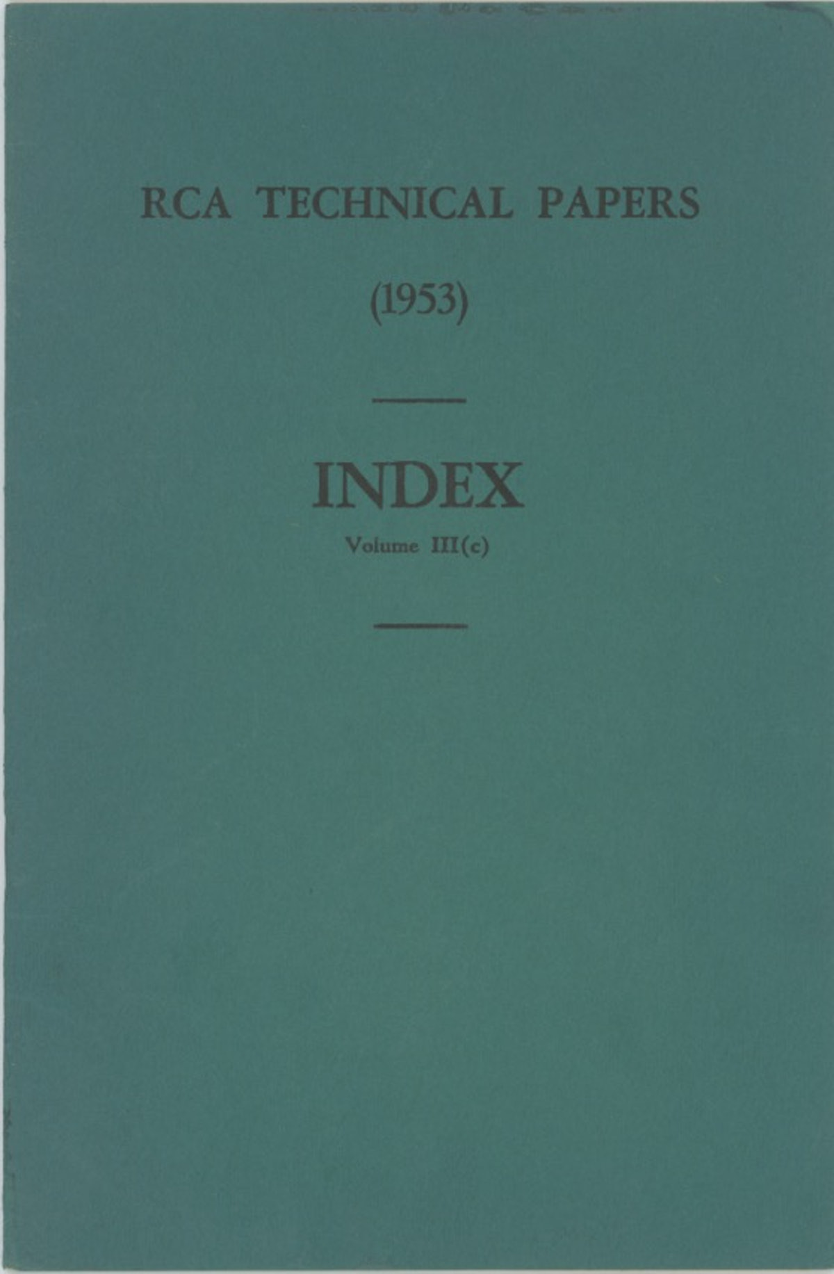 RCA Technical Papers Index Volume III (c)