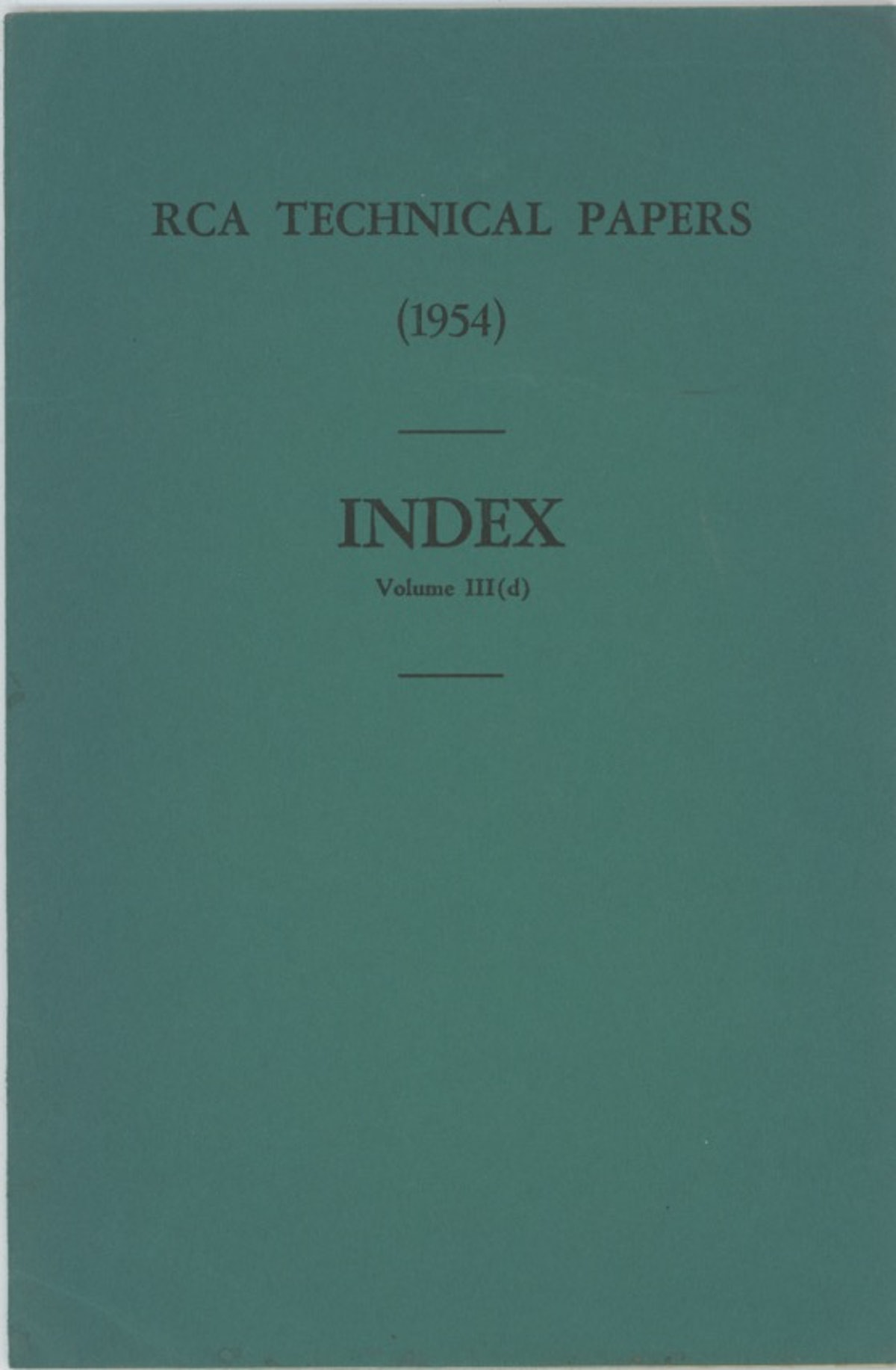 RCA Technical Papers Index Volume III (d)