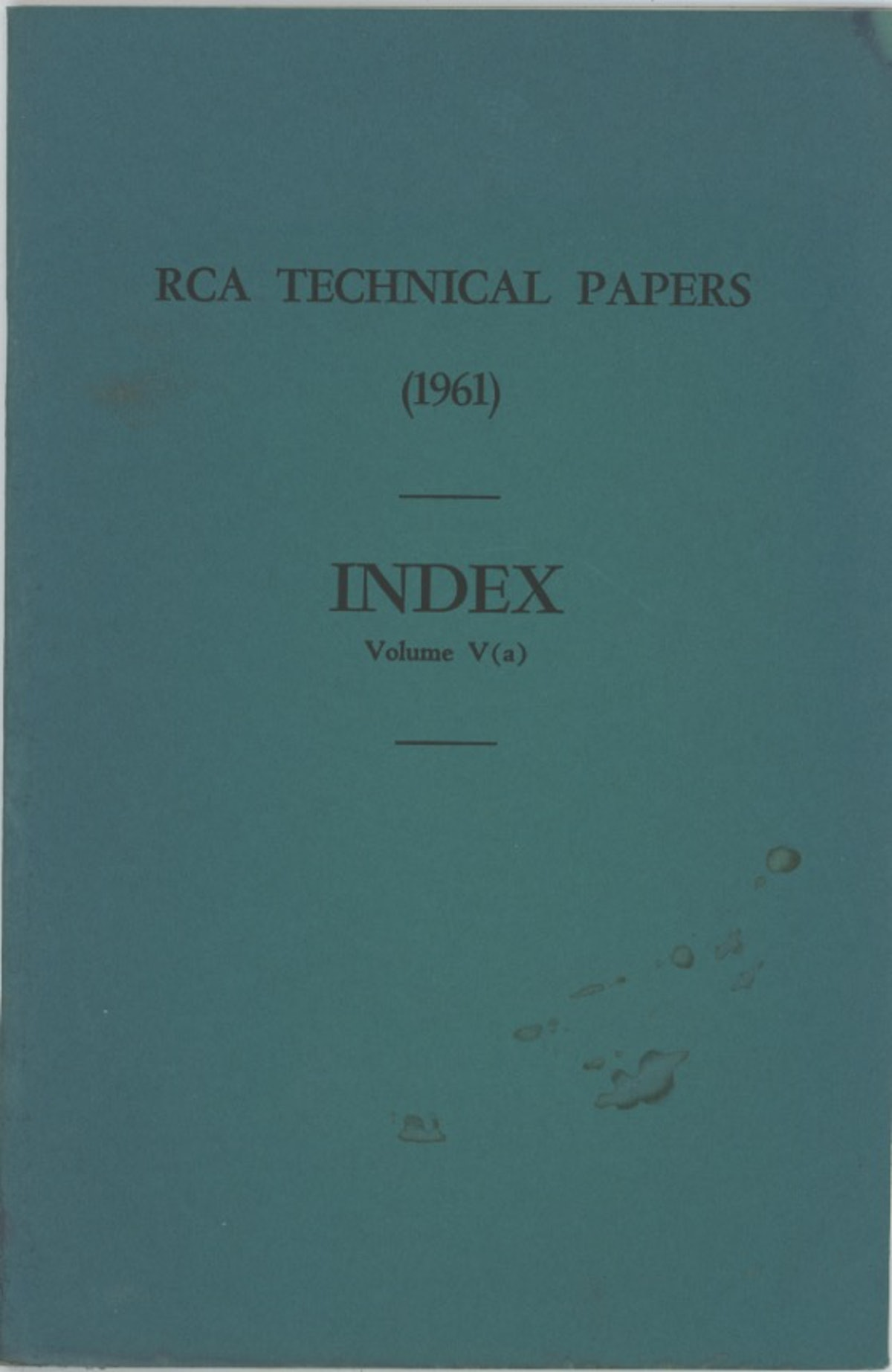 RCA Technical Papers Index Volume V (a)