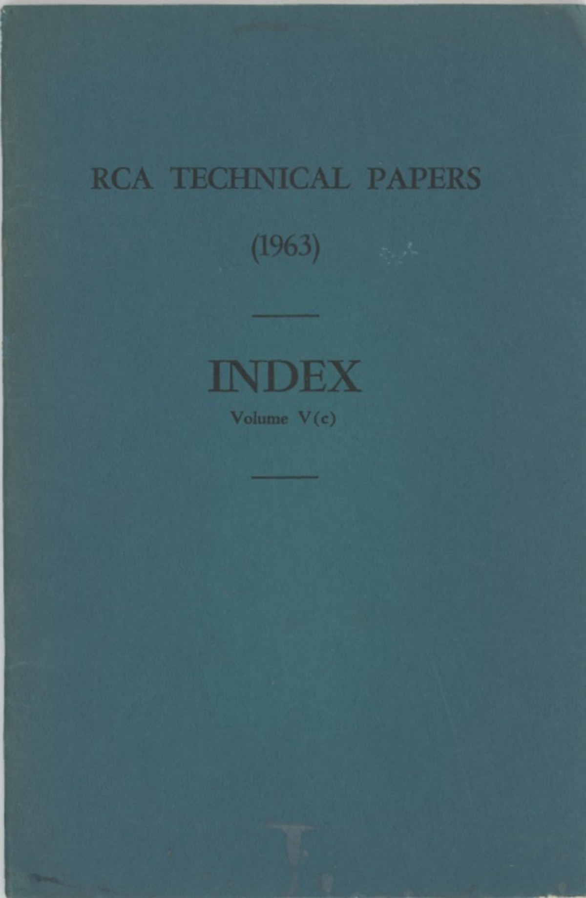 RCA Technical Papers Index Volume V (c)