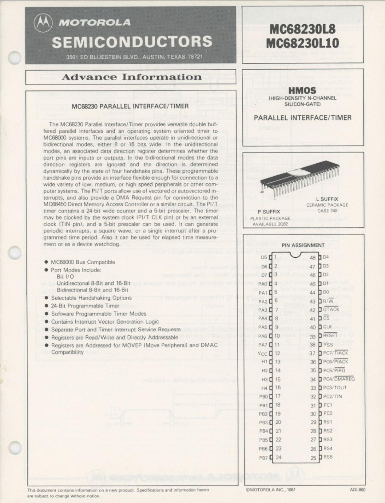 MC68230L8 MC68230L10 Advance Information